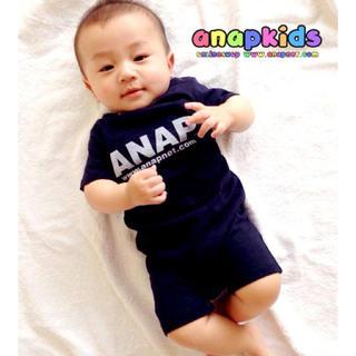 アナップキッズ(ANAP Kids)の新品 ANAPKIDS☆70 ロゴ ロンパース ネイビー アナップキッズ(ロンパース)