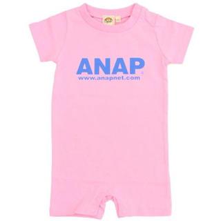 アナップキッズ(ANAP Kids)の新品 ANAPKIDS☆70 ロゴ ロンパース ピンク アナップキッズ(ロンパース)
