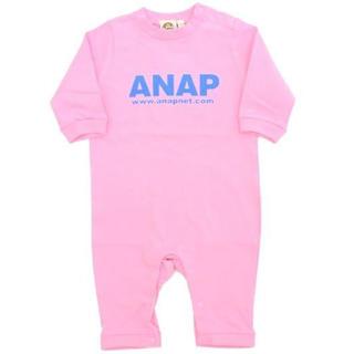 アナップキッズ(ANAP Kids)の新品 ANAPKIDS☆70 ロゴ ロンパース 長袖 ピンク アナップキッズ(ロンパース)