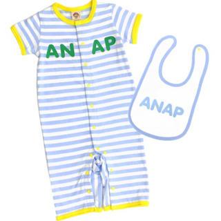 アナップキッズ(ANAP Kids)の新品 ANAPKIDS☆70 ロゴ スタイ&ロンパース ブルー アナップキッズ(ロンパース)