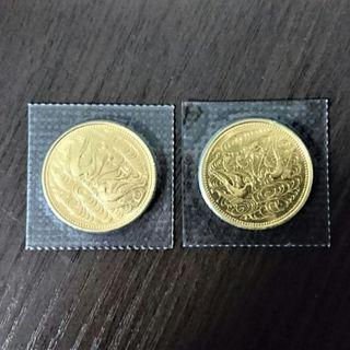 天皇陛下御在位60年記念10万円金貨 2枚(貨幣)