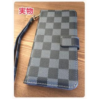 iPhone 7/8手帳型 ケース 格子柄 市松模様 チェック ブラック 黒(iPhoneケース)
