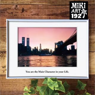 192✦ニューヨーク マンハッタンの夕焼けフォトアート✦A4フレーム付✦A3も可