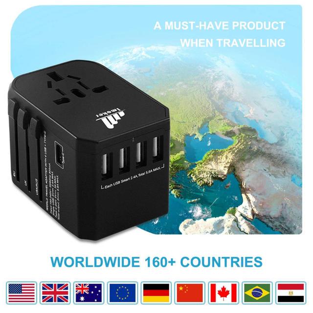 旅行用電源アダプタプラグ - ユニバーサルウォールUSB充電器 インテリア/住まい/日用品の日用品/生活雑貨/旅行(旅行用品)の商品写真