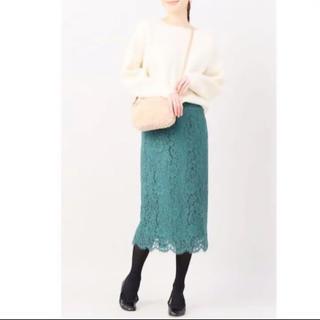 イエナ(IENA)のIENA レースタイトスカート グリーン 新品タグ付き(ひざ丈スカート)