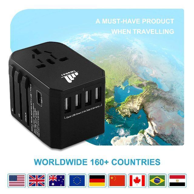 旅行用電源アダプタプラグ - ユニバーサルウォールUSB充電器、国際旅行用 スマホ/家電/カメラの生活家電(変圧器/アダプター)の商品写真