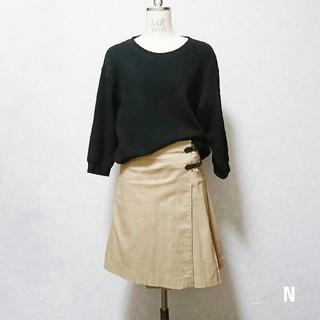 膝丈巻きスカート ベージュ Sサイズ(ひざ丈スカート)