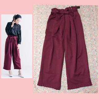 メルロー(merlot)の新品☆ウエストリボン&裾プリーツパンツ(カジュアルパンツ)