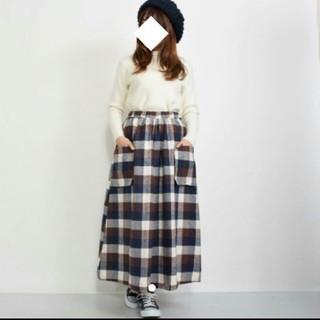 メルロー(merlot)のFillil/フィリル  ビッグポケットチェックロングスカート マキシ メルロー(ロングスカート)