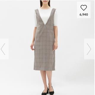 GU - ジーユー GU ジャンパースカート グレー チェック Sサイズ ジャンスカ