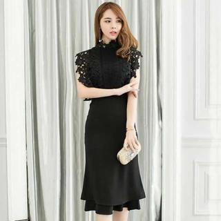 黒 レース ワンピース ドレス (ミディアムドレス)