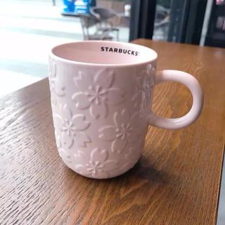 スターバックスコーヒー(Starbucks Coffee)の桜 マグカップ 型押し 立体 さくら 海外スターバックス タンブラー 花 ピンク(グラス/カップ)