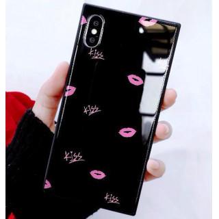 iphoneケース 黒 唇柄 シェルケース スクエア キスマーク 強化ガラス(iPhoneケース)