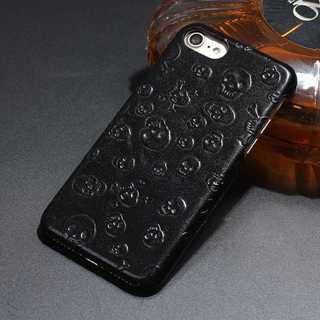黒 ドクロ  iPhone6s/7/8/7plus レザー ケース(iPhoneケース)