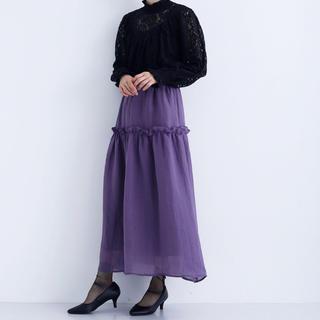 メルロー(merlot)のmerlot フレアスカート パープル(ロングスカート)