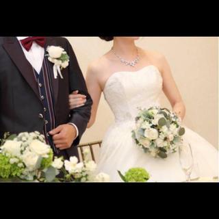 ウエディング ブーケ♡ホワイトかすみ草バラ ナチュラル(ウェディングドレス)