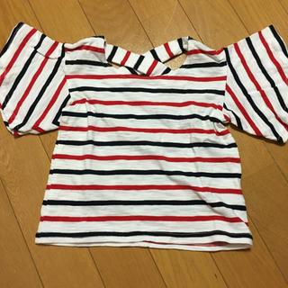 シマムラ(しまむら)の未使用 バースデイ ボーダー Tシャツ 90(Tシャツ/カットソー)