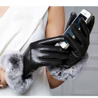 レディース手袋 /スマートフォン対応/ファー付き(手袋)