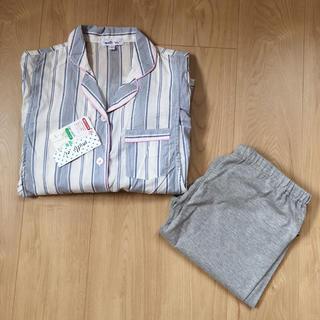 【新品・タグ付】サイズL*マタニティ 授乳服 パジャマ ストライプ ブルー