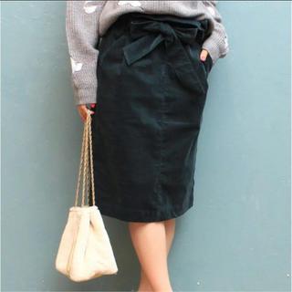 ティアンエクート(TIENS ecoute)の新品 TIENS ecoute リボン スカート Mサイズ グリーン(ひざ丈スカート)