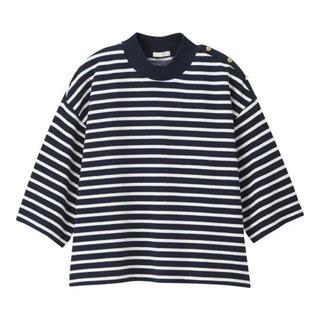 GU - used♡GU クロップド 5分袖Tシャツ ネイビーボーダー