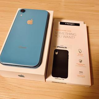 iPhone - 動作確認のみ‼︎ iphone XR 64GB SIMフリー ブルー ケース付