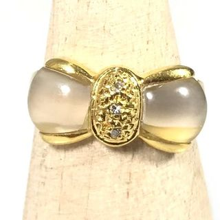 美品 K18 ゴールド ムーンストーン 3P ダイヤ リボン リング RF35(リング(指輪))