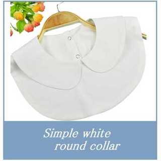 レディース 襟先丸 ラウンド 白つけ襟 シャツ 丸襟 衿 ブラウス ホワイト(つけ襟)