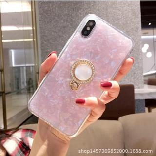 (ピンク iphone8 iphone7 )キラキラ宝石柄 リングブラケット