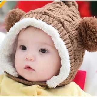 ベビー キッズ 帽子 クマ耳付きニット帽 防寒対策 ポンポンが可愛い帽子 茶色(帽子)