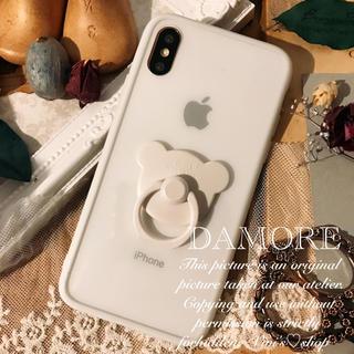 No.23♡カラーフレームクリアーケース♡クマ指リング付きiphoneケース(iPhoneケース)
