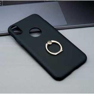 スマホケース ブラック iPhoneX バンカーリング付き 極薄 シンプル 保護(iPhoneケース)