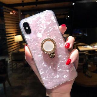 ピンク パステル パール リング付き シェル iPhone7/8(iPhoneケース)