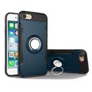 ★【ネイビー】耐衝撃 iPhone 6plusケース リングホルダー付き(iPhoneケース)