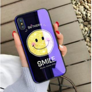 iphoneX対応 iphoneケース スマイリー 鏡面 ブルーミラー キズ防止(iPhoneケース)