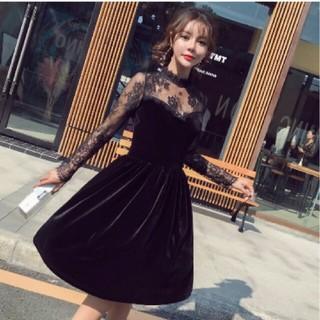 ♡即日発送!長袖レースベロアミディアムブラックワンピースドレス♡(ミディアムドレス)