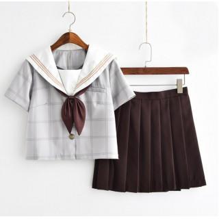 コスプレ 学生服 半袖 ホワイト M セーラー服 上下セット チェック柄