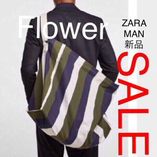 ZARA - ZARA MAN ストライプ柄 ショルダー ラージ トートバッグ、