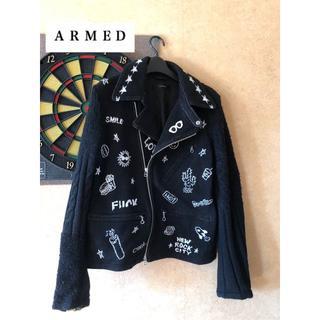 アームド(ARMED)の美品 ARMED / GRAFFITI KNIT RIDERS(ライダースジャケット)