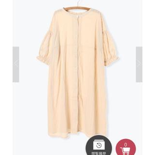 サマンサモスモス(SM2)の袖刺繍前開きワンピース(ベージュ)(ロングワンピース/マキシワンピース)