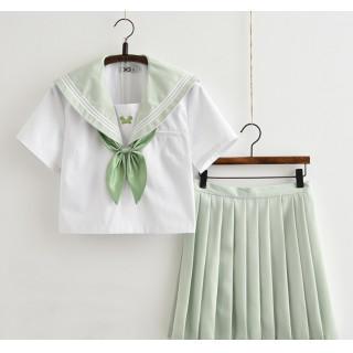 コスプレ 学生服 半袖 グリーン M セーラー服 上下セット リボン付き