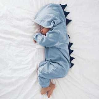 【ベビー/70-80cm】かわいい 恐竜 ロンパース ブルー z48205(パジャマ)
