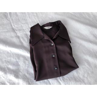 ブラウンの開襟シャツ(シャツ/ブラウス(長袖/七分))