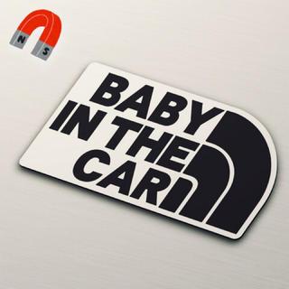 【マグネット】BABY IN CAR:レインボーデザインBK/WH