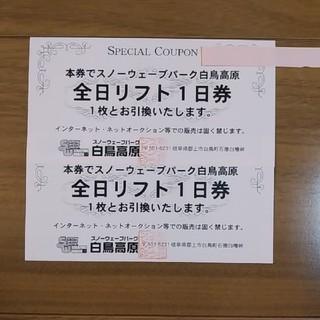 白鳥高原 全日リフト券 2枚(スキー場)