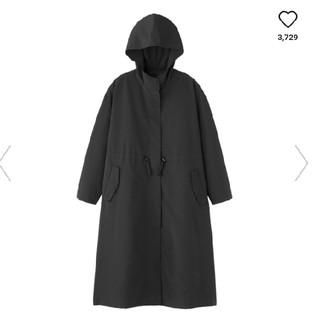 ジーユー(GU)のGU ドローストリングフーデッドコート ブラックL(ロングコート)