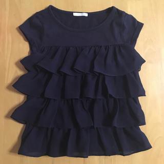 ジーユー(GU)のキッズ フリルトップス 110 ネイビー(Tシャツ/カットソー)