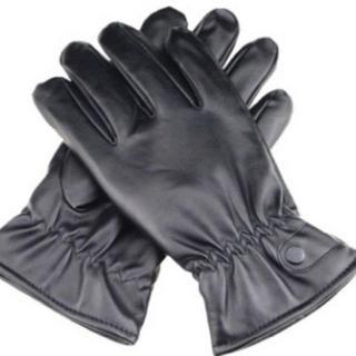メンズ 黒手袋 内側起毛 柔軟性・防水性あり スマホ使用可能 送料無料(手袋)