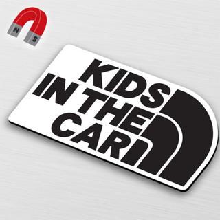 【マグネット】KIDS IN CAR:レインボーデザインBK/WH