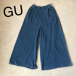 ジーユー(GU)のGU ワイドパンツ スエットデニム(デニム/ジーンズ)